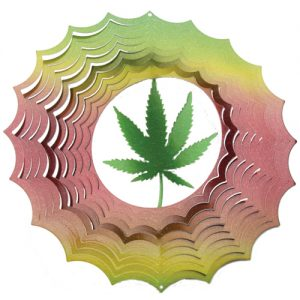 cannabis leaf 3d wind spinner