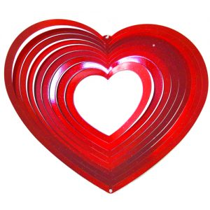 heart metal wind spinner